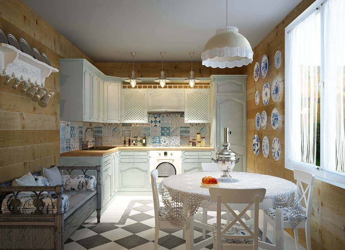 White kitchenfurniture set in the Provence kitchen with mustard painted walls