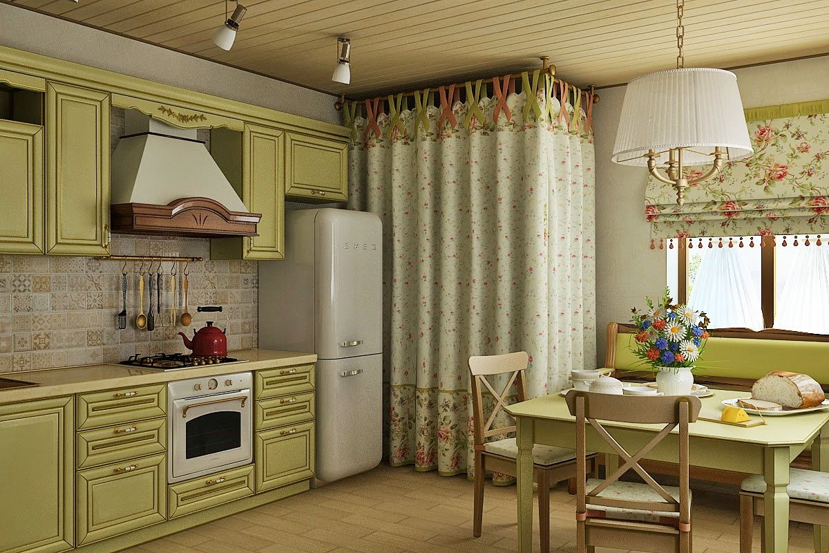 Provence Style Kitchen Interior Design for Cozy Life with Taste of Classics. Olive toned furniture set and curtain zoning method