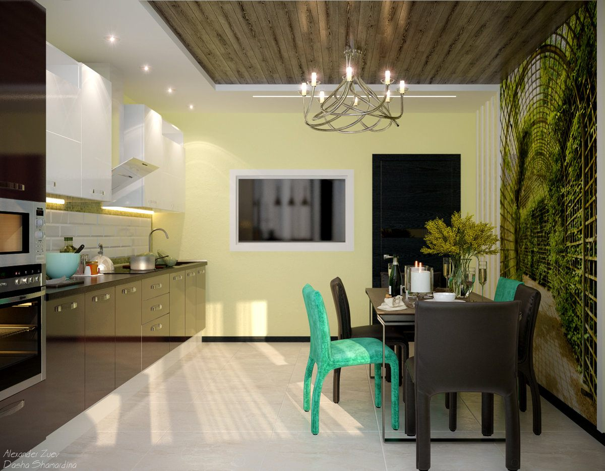 Fusion Style Kitchen Interior Design: Features and Arrangement Ideas. Brown wooden ceiling, colorful chair set and dedicated cooking area