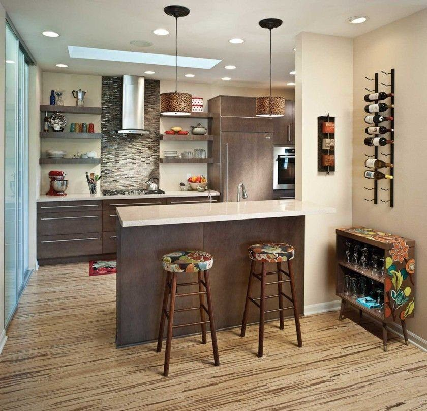 Fusion Style Kitchen Interior Design: Features and Arrangement Ideas. Brown bar counter with chairs