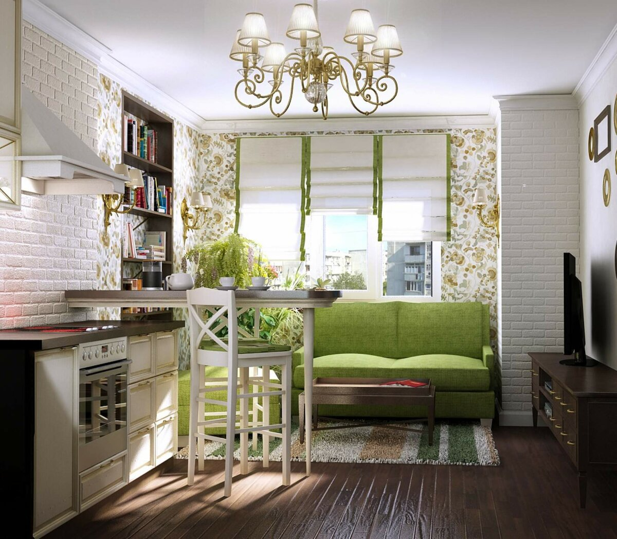 Green colored furniture and wooden floor for the Classic kitchen