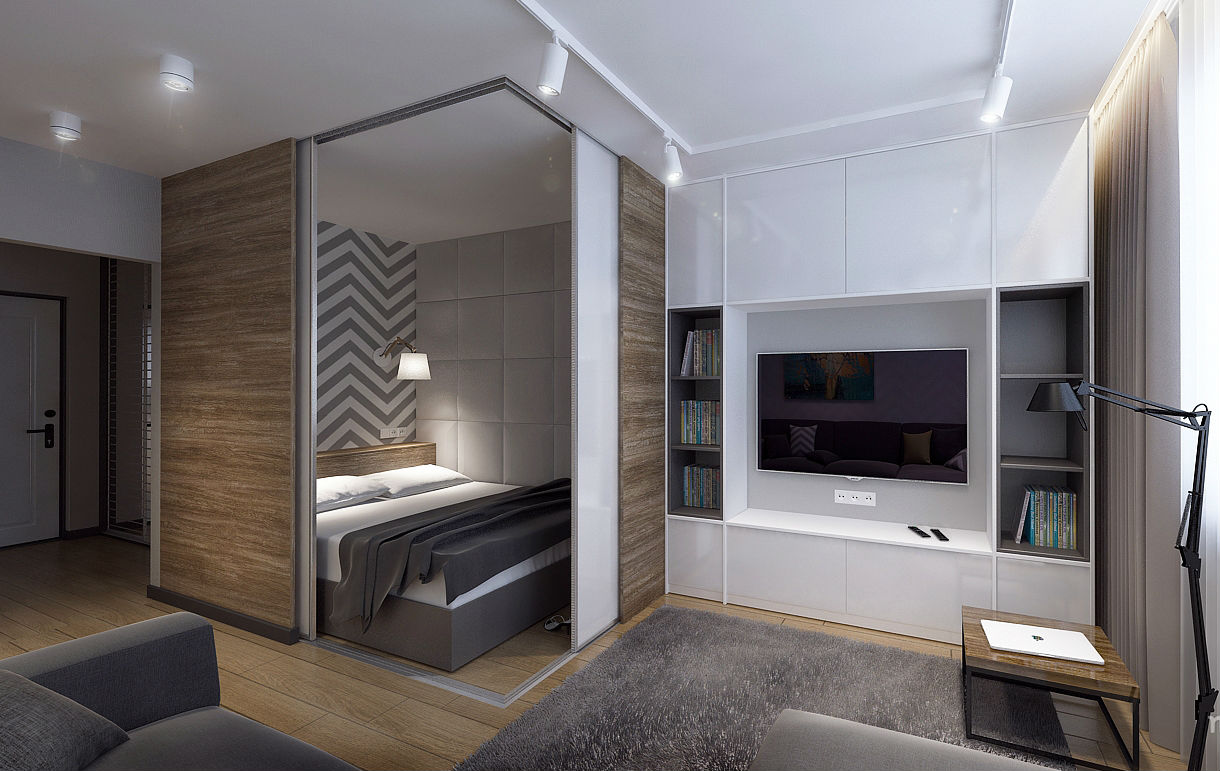 Small nook with the bed separated with sliding doors