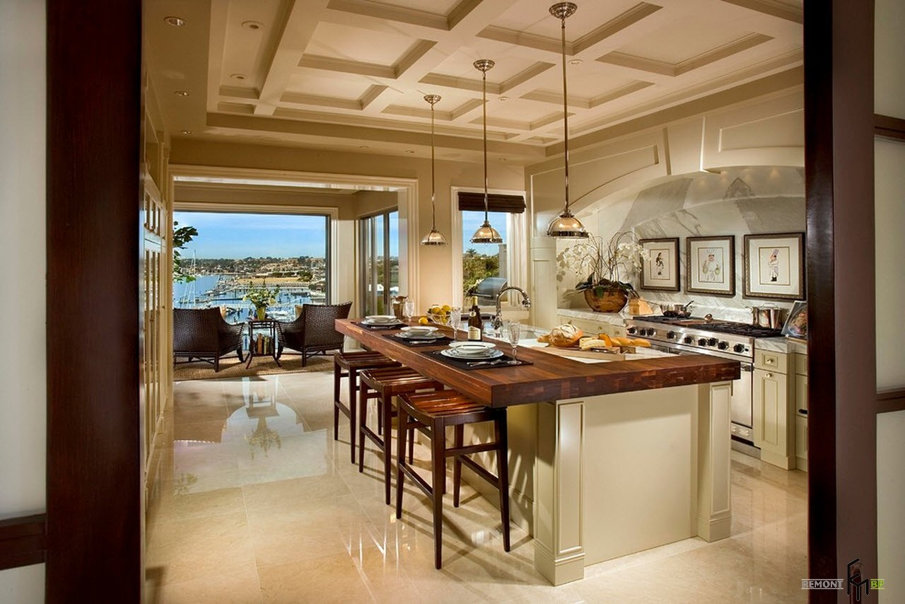Coffered ceiling, wooden table and glossy self-leveled floor at the oceanside house with panoramic windows