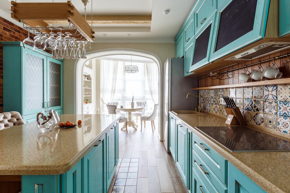 Joyful turquoise kitchen set facades for Moediterranean kitchen with zoning arch