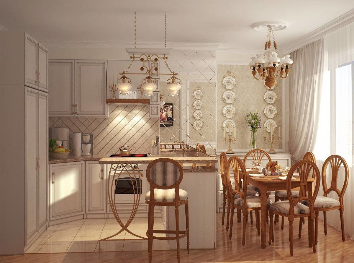 White walls and wooden furniture for calm homey atmosphere of the kitchen