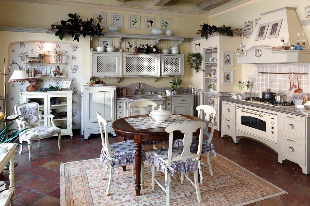 Provence Style Kitchen Interior Design for Cozy Life with Taste of Classics. Classic romantic white room with central dining zone
