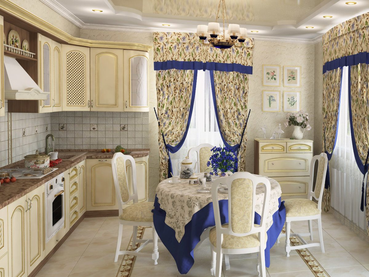 Provence Style Kitchen Interior Design for Cozy Life with Taste of Classics. Blue accents for calm classic design