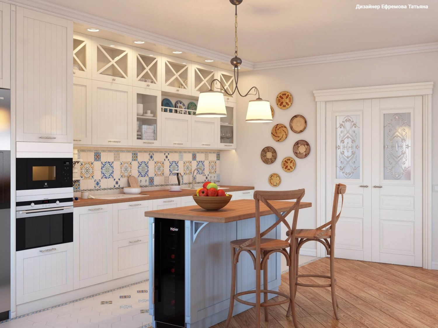 Mediterranean Style Kitchen Interior Design Ideas with Photos. Neat white arrangement with wooden floor and colorful tiled backsplash