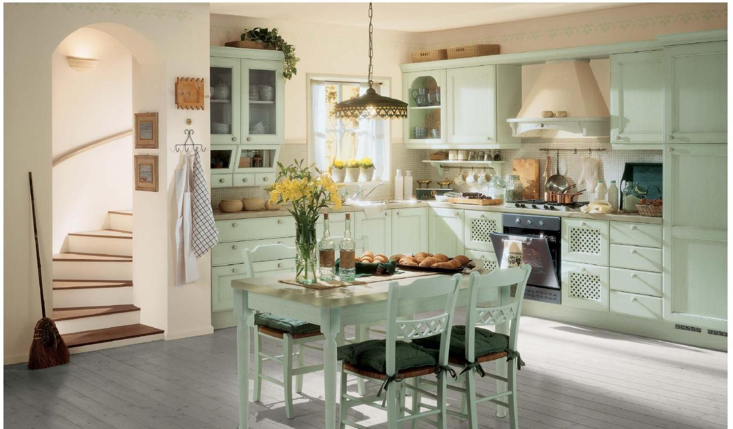 Provence Style Kitchen Interior Design for Cozy Life with Taste of Classics. Turquoise colored rustic kitchen