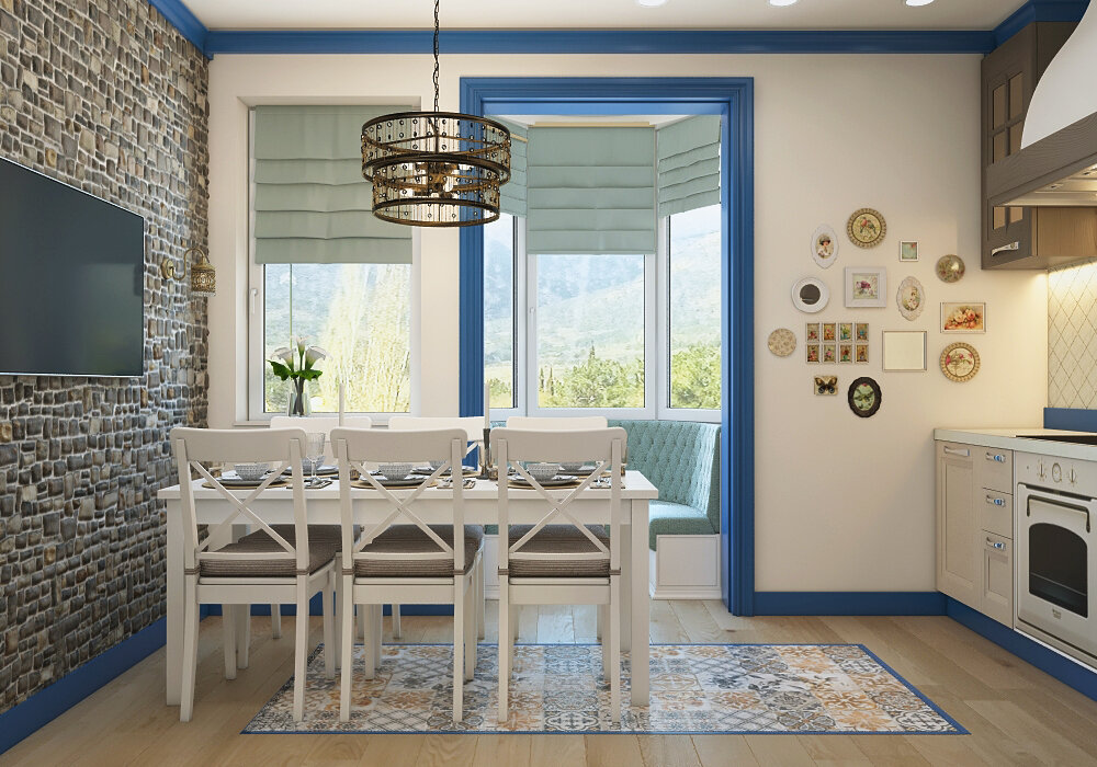 Mediterranean Style Kitchen Interior Design Ideas with Photos. White walls and furniture, blue additions and brickwork