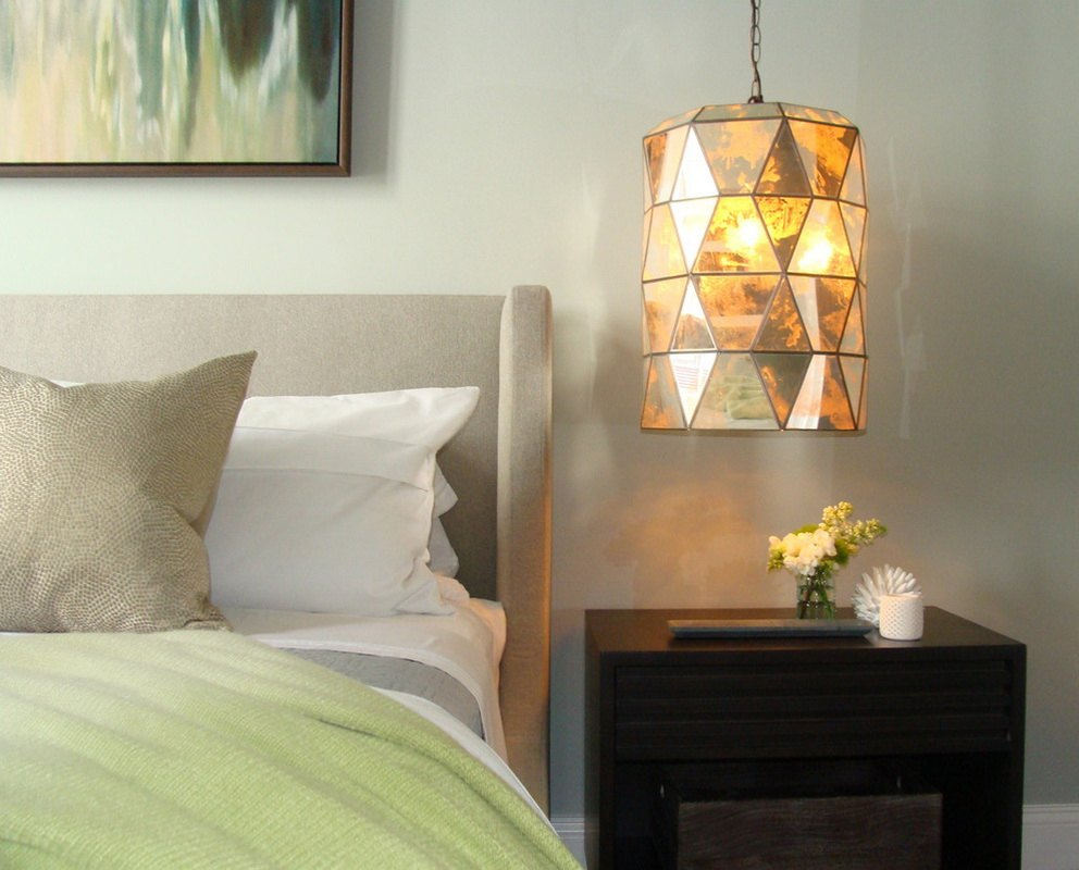 Night Lamps at the Bedroom: Necessary Lighting Fixtures. Unusual triangle shaped lampshade