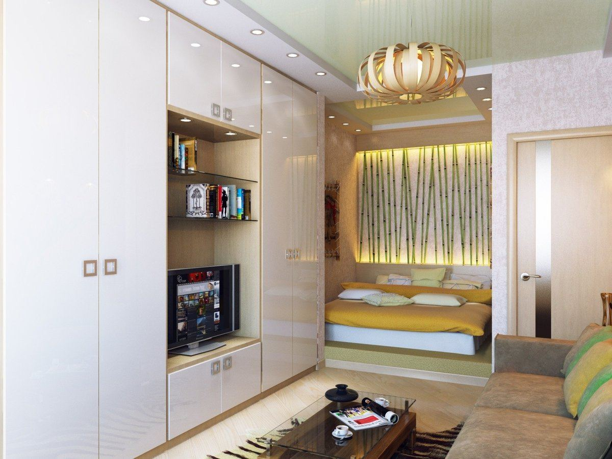 Studio Apartment Bedroom: Design Ideas and Pro Designers' Advice. Brightly colored bed zone