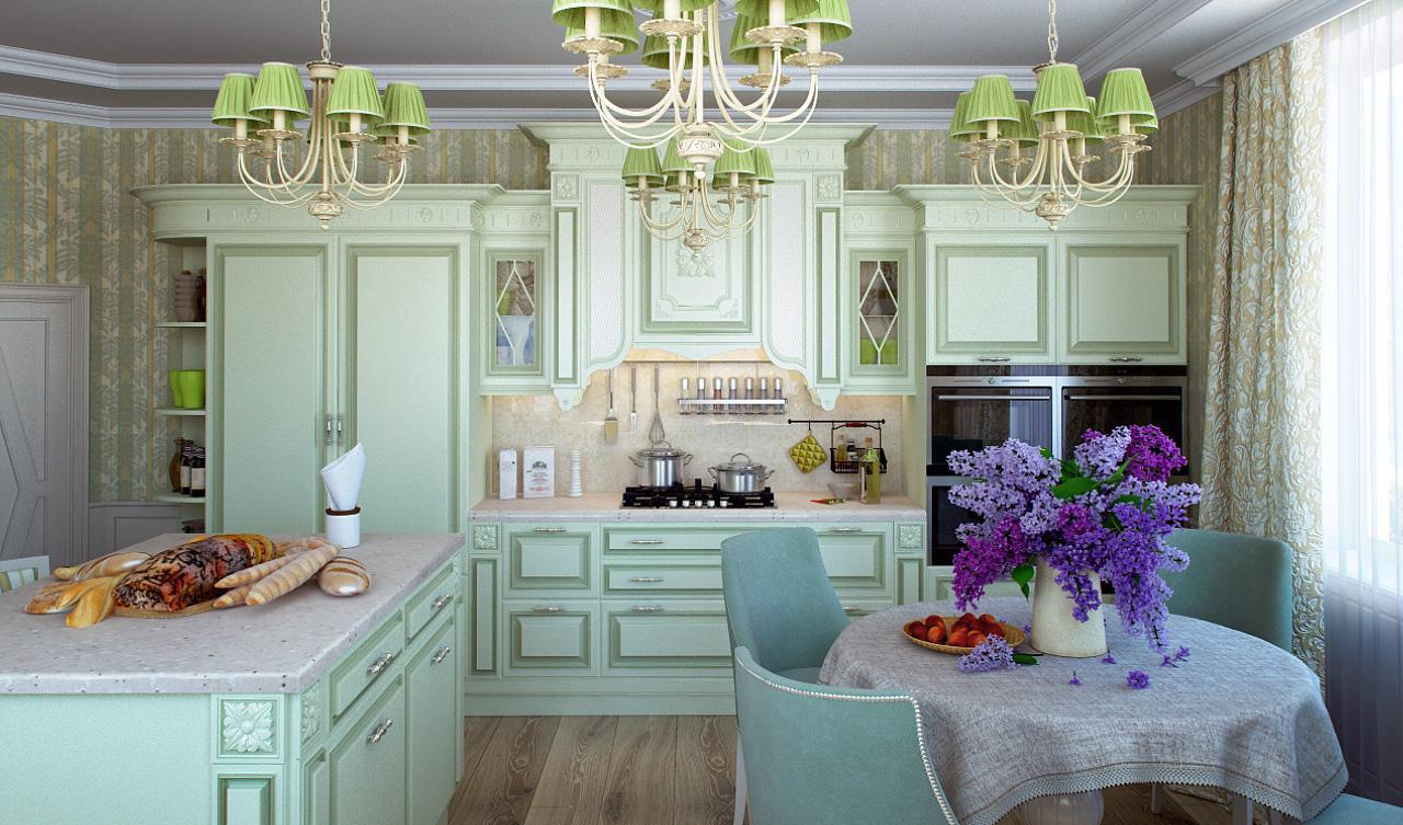 Provence Style Kitchen Interior Design for Cozy Life with Taste of Classics. Sweet tones in slightly playful atmosphere with olive leitmotif
