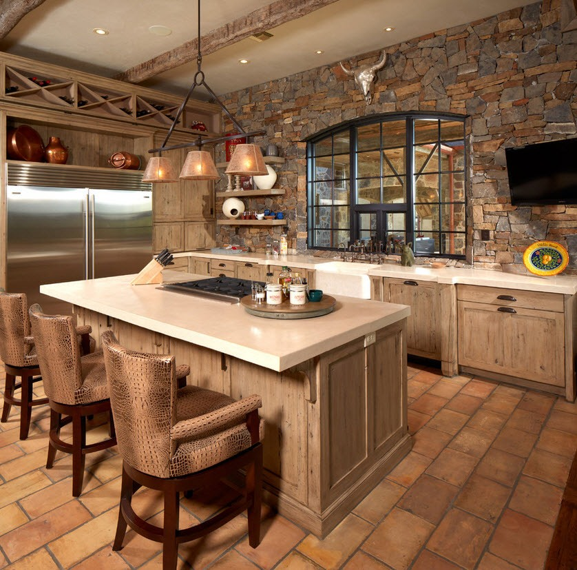Chalet Kitchen Interior: Description, Design Tips with Photos. Stone and wooden materials everywhere