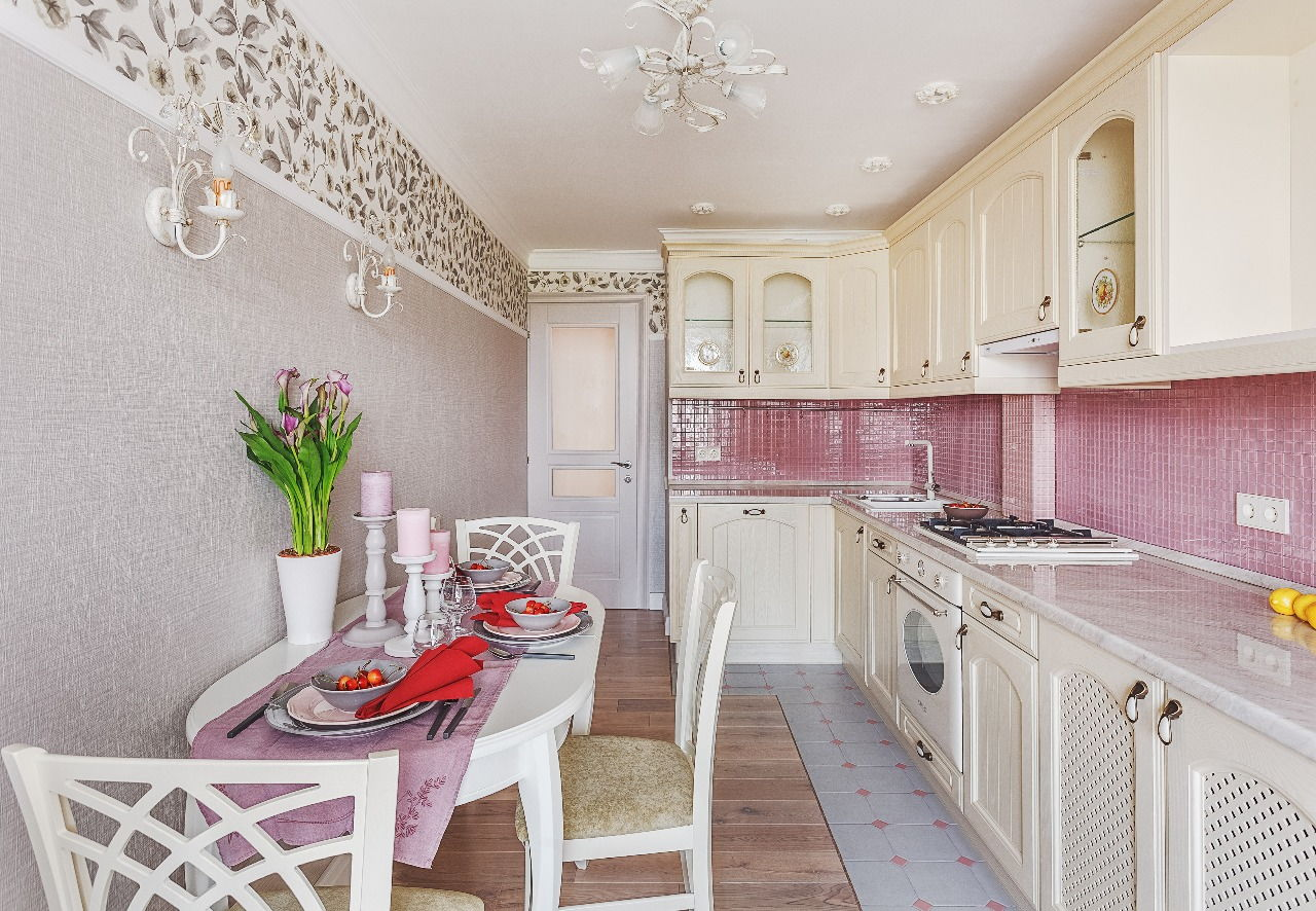 Provence Style Kitchen Interior Design for Cozy Life with Taste of Classics. Pink touch in casual interior