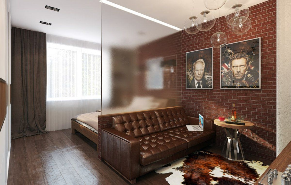Studio Apartment Bedroom: Design Ideas and Pro Designers' Advice. Matte glass partition in businesslike dark brown room