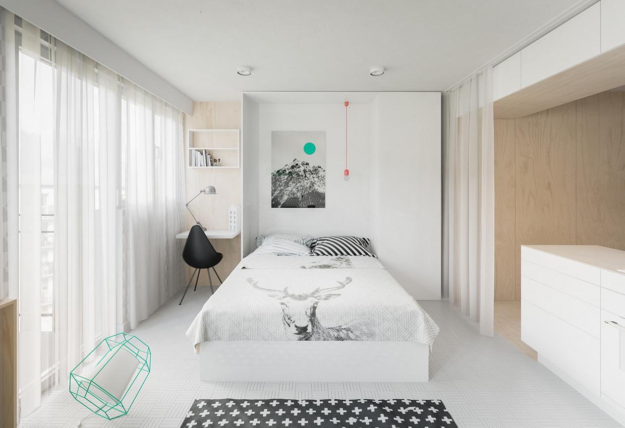 Studio Apartment Bedroom: Design Ideas and Pro Designers' Advice. Stylish white rom with small working place
