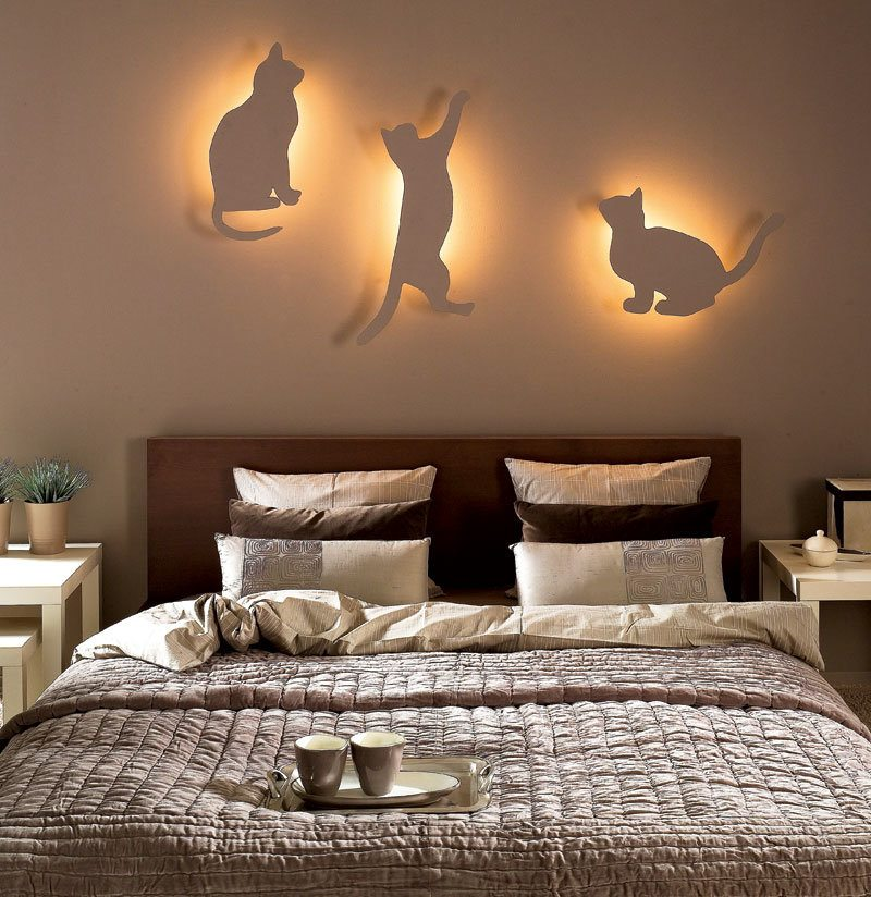 Night Lamps at the Bedroom: Necessary Lighting Fixtures. Three fixtures with cats as the cover