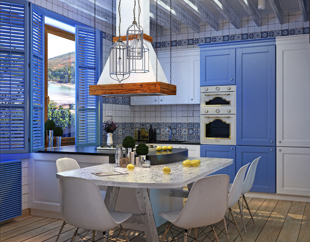 Mediterranean Style Kitchen Interior Design Ideas with Photos. Total blue decoration with white dining zone