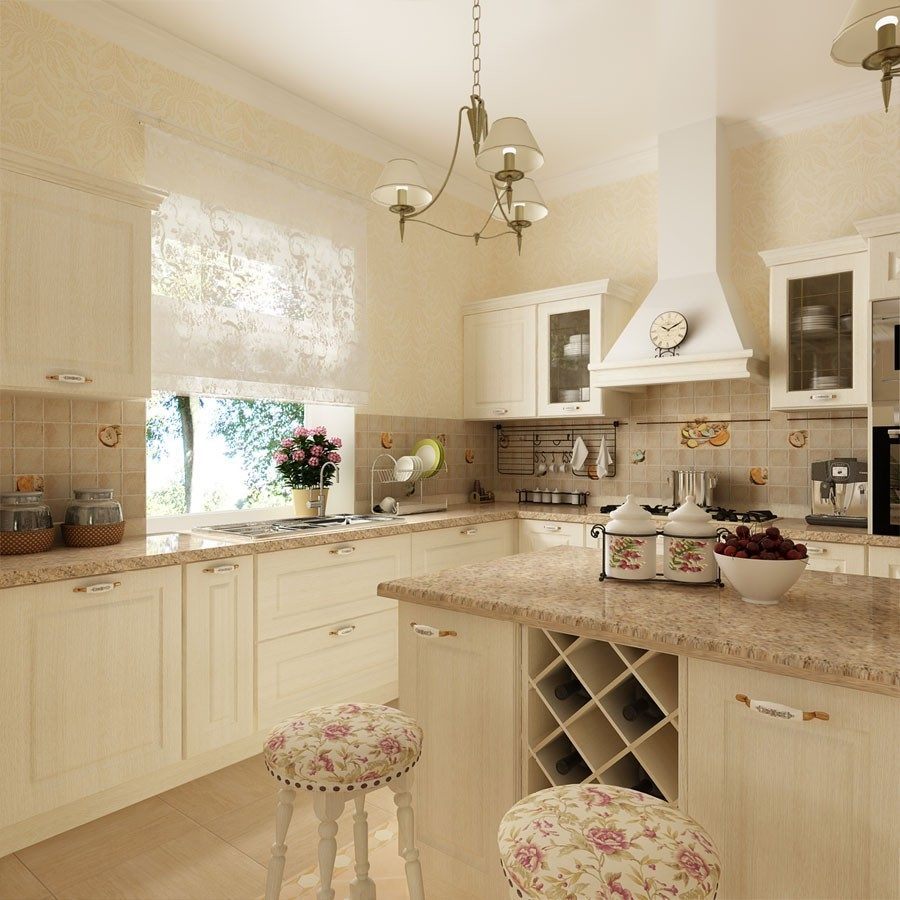 Provence Style Kitchen Interior Design for Cozy Life with Taste of Classics. Pastel colored tender interior with monochromatic theme