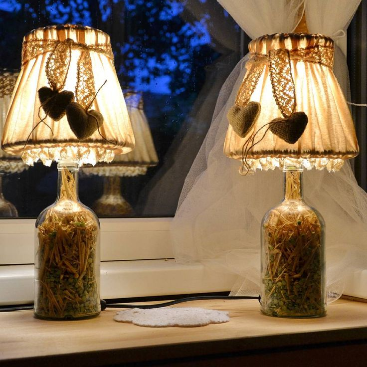 Night Lamps at the Bedroom: Necessary Lighting Fixtures. Great DIY idea to decorate the lampshade with textile hearts