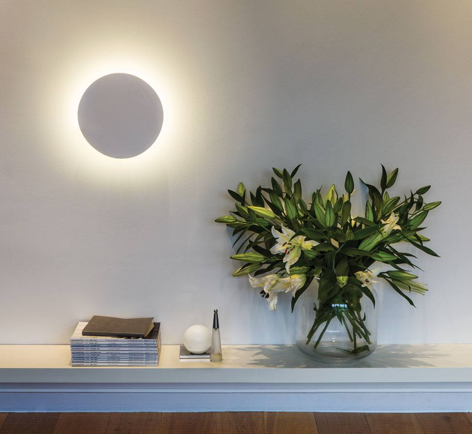 Night Lamps at the Bedroom: Necessary Lighting Fixtures. Circle with the LED backlight