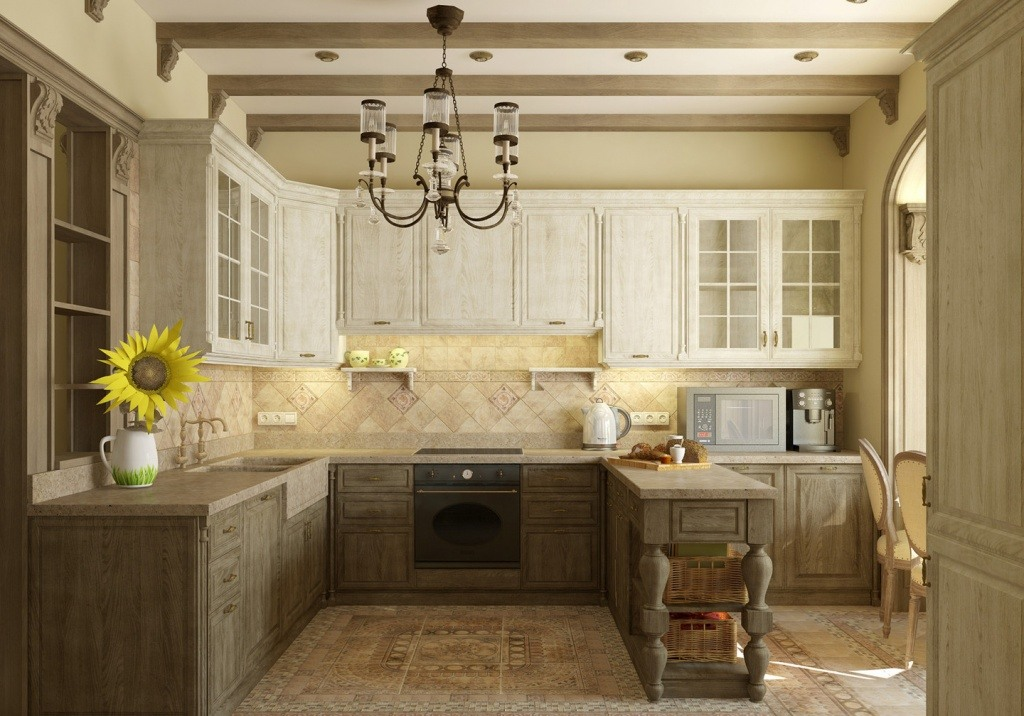 White colored top tier and dark wooden lower tier of the furniture in Provence kitchen