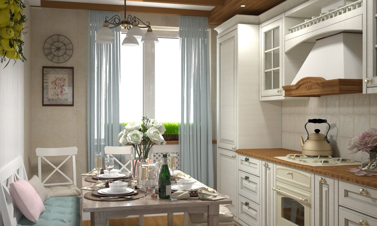 Provence Style Kitchen Interior Design for Cozy Life with Taste of Classics. Blue tulle cartains in light room
