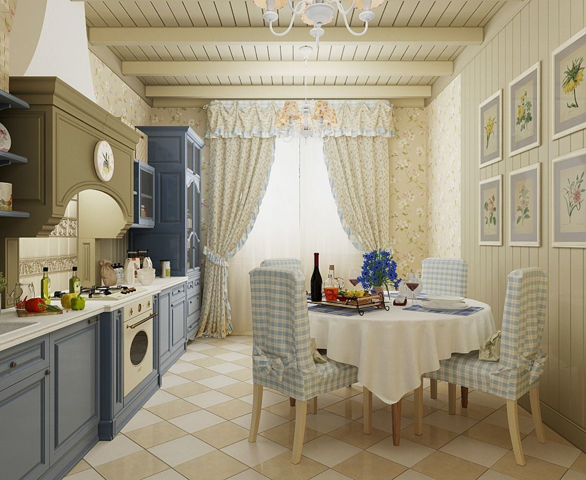 Neat beige ambience of the typical Classic interior of the kitchen with blue facades
