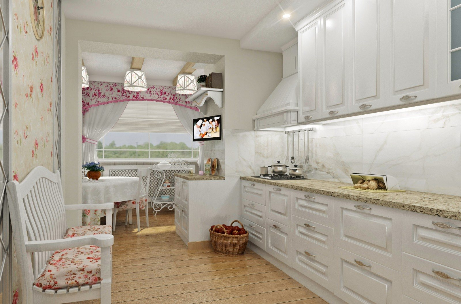 Wooden laminated floor for white cozy Provence styled kitchen