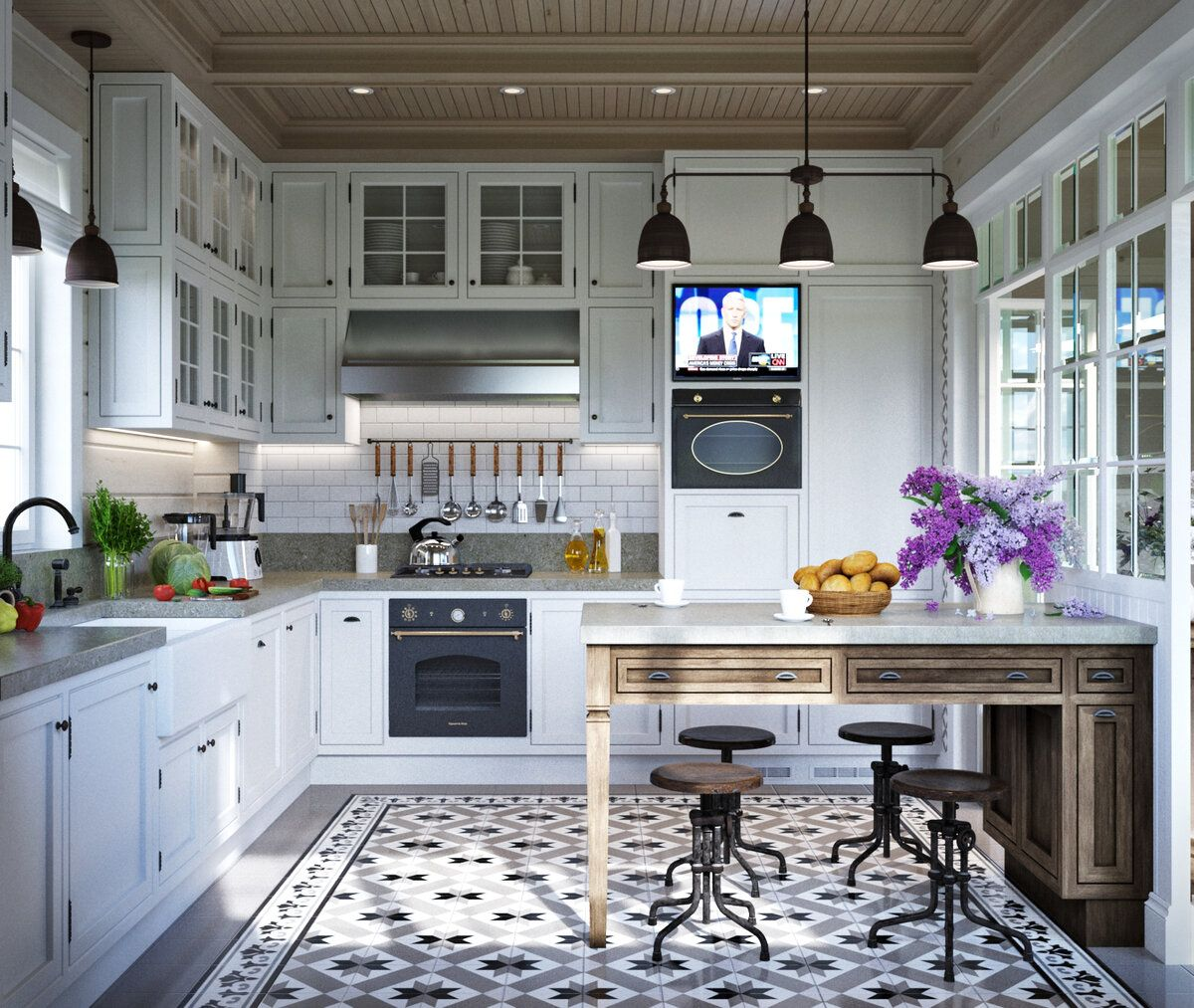 Marvelous combination of colors and materials in the Provence kitchen with black pendant lights over the table
