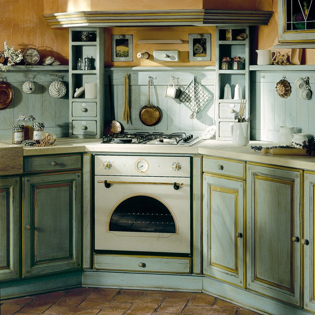 Provence Style Kitchen Interior Design for Cozy Life with Taste of Classics. Shabby chic in pale blue color theme with wooden imitating flooring