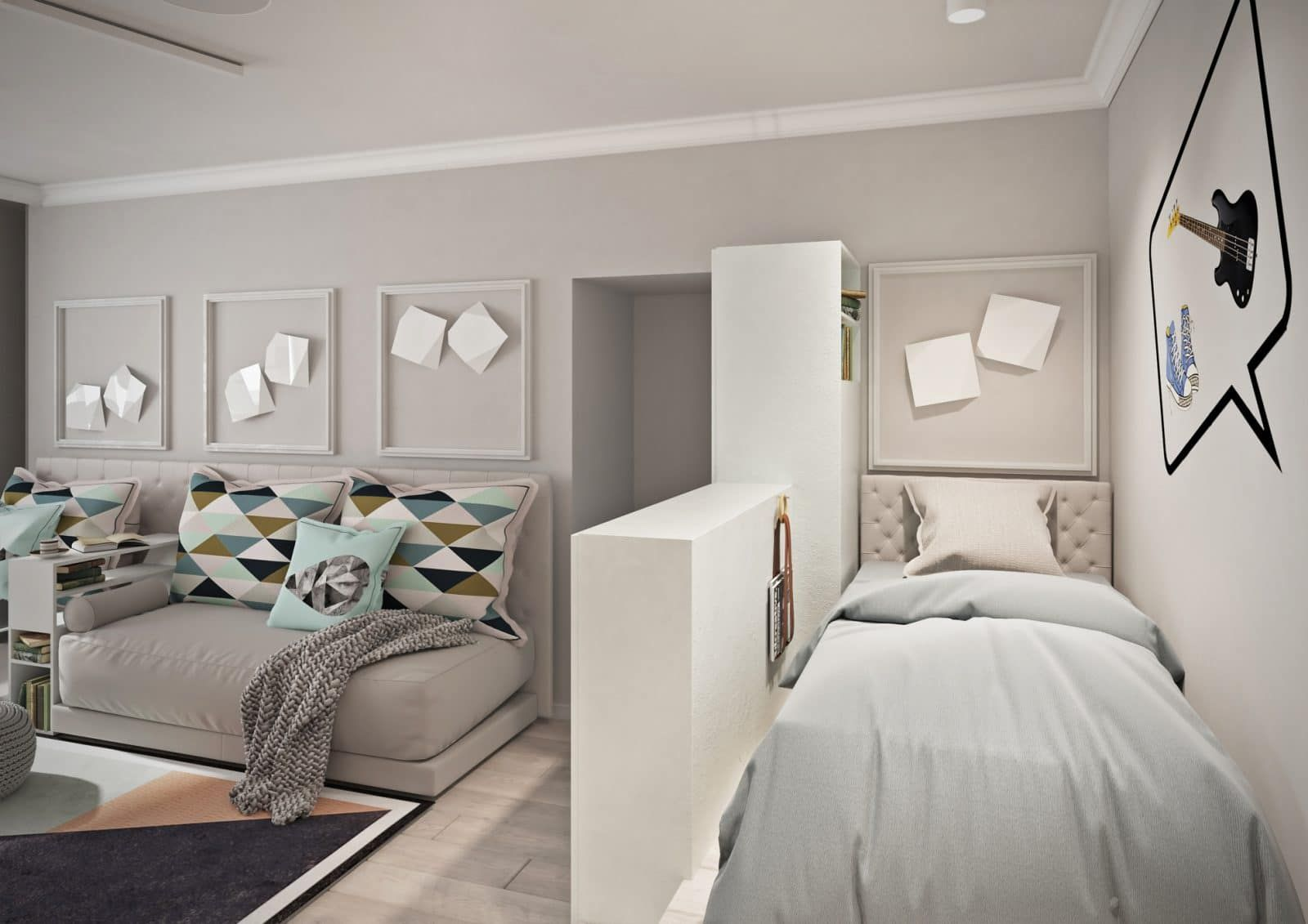 Studio Apartment Bedroom: Design Ideas and Pro Designers' Advice. Gypsum plasterboard partition between zones as pedestal for things