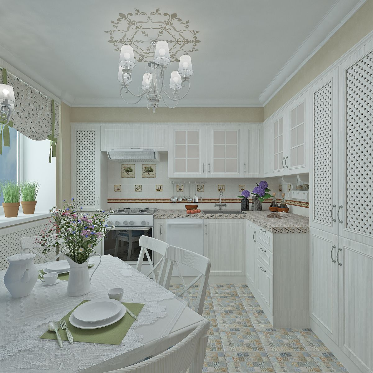 Provence Style Kitchen Interior Design for Cozy Life with Taste of Classics. Comfortable atmosphere with tiled white floor and neat pastel furniture facades