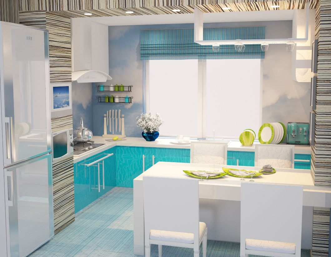 Fusion Style Kitchen Interior Design: Features and Arrangement Ideas. Turquoise bottom level of the furniture and bamboo facades of the top
