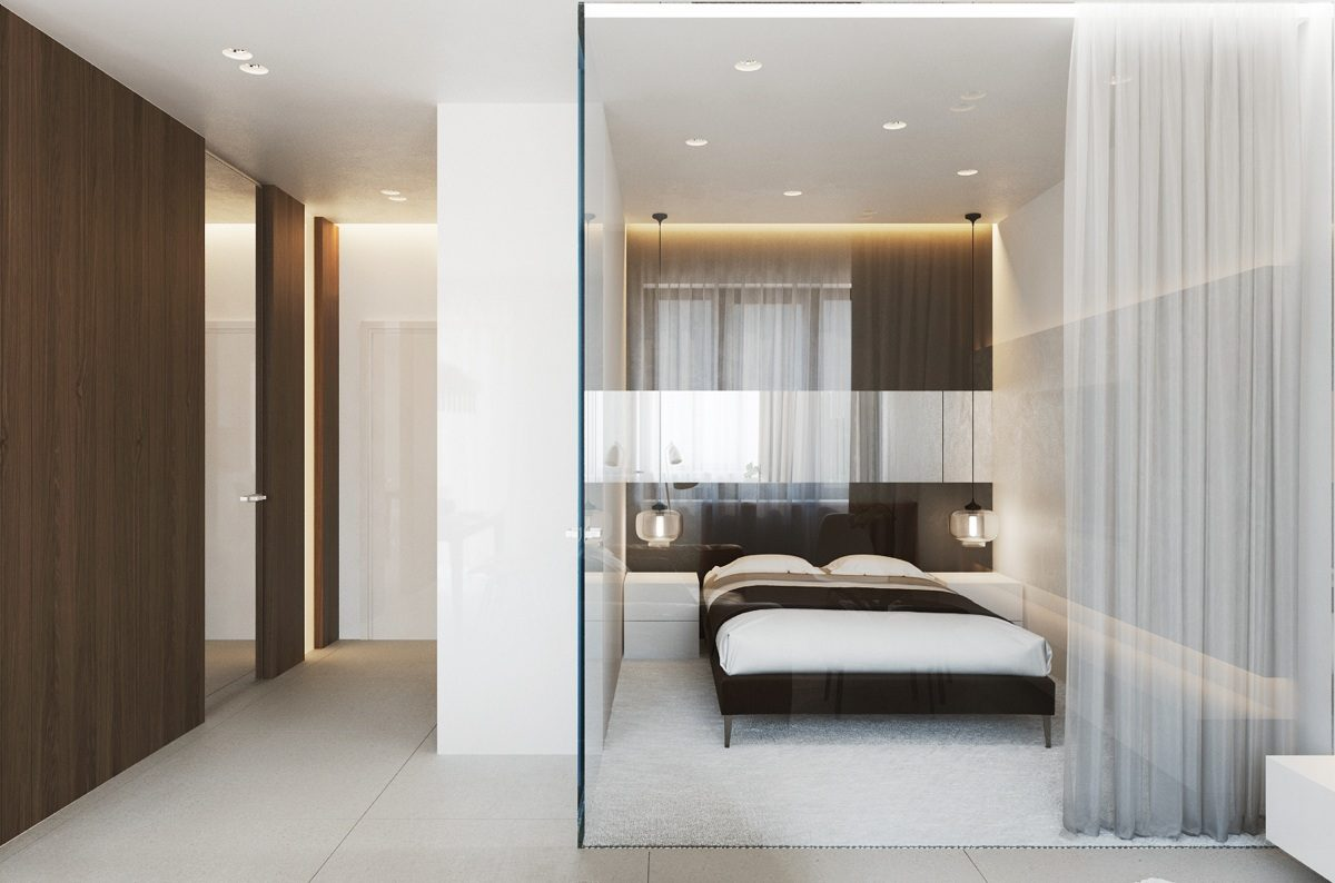 Studio Apartment Bedroom: Design Ideas and Pro Designers' Advice. Impeccable style for the glass separated sleeping zone