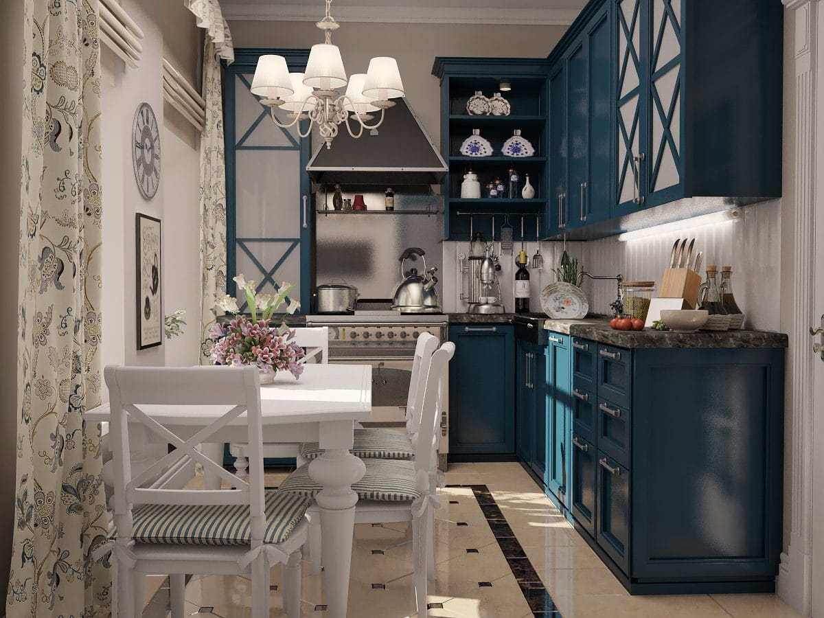 Provence Style Kitchen Interior Design for Cozy Life with Taste of Classics. Aquamarine furniture set in gray colored classic kitchen