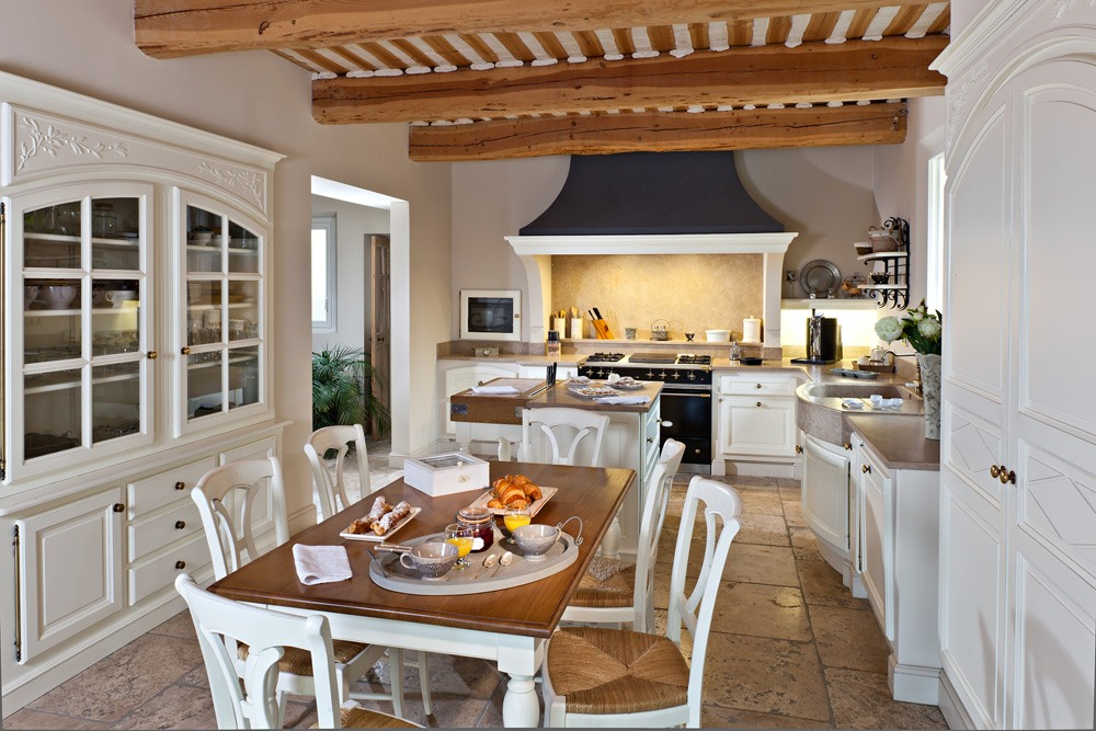 Provence Style Kitchen Interior Design for Cozy Life with Taste of Classics. A taste of Mediterranean style with black extractor hood