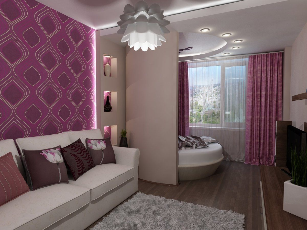 Studio Apartment Bedroom: Design Ideas and Pro Designers' Advice. Purple wallpaper with pattern and framed lighting