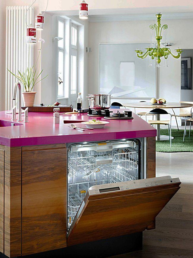 Fusion Style Kitchen Interior Design: Features and Arrangement Ideas. Built-in dishwasher at the isalnd with pink top