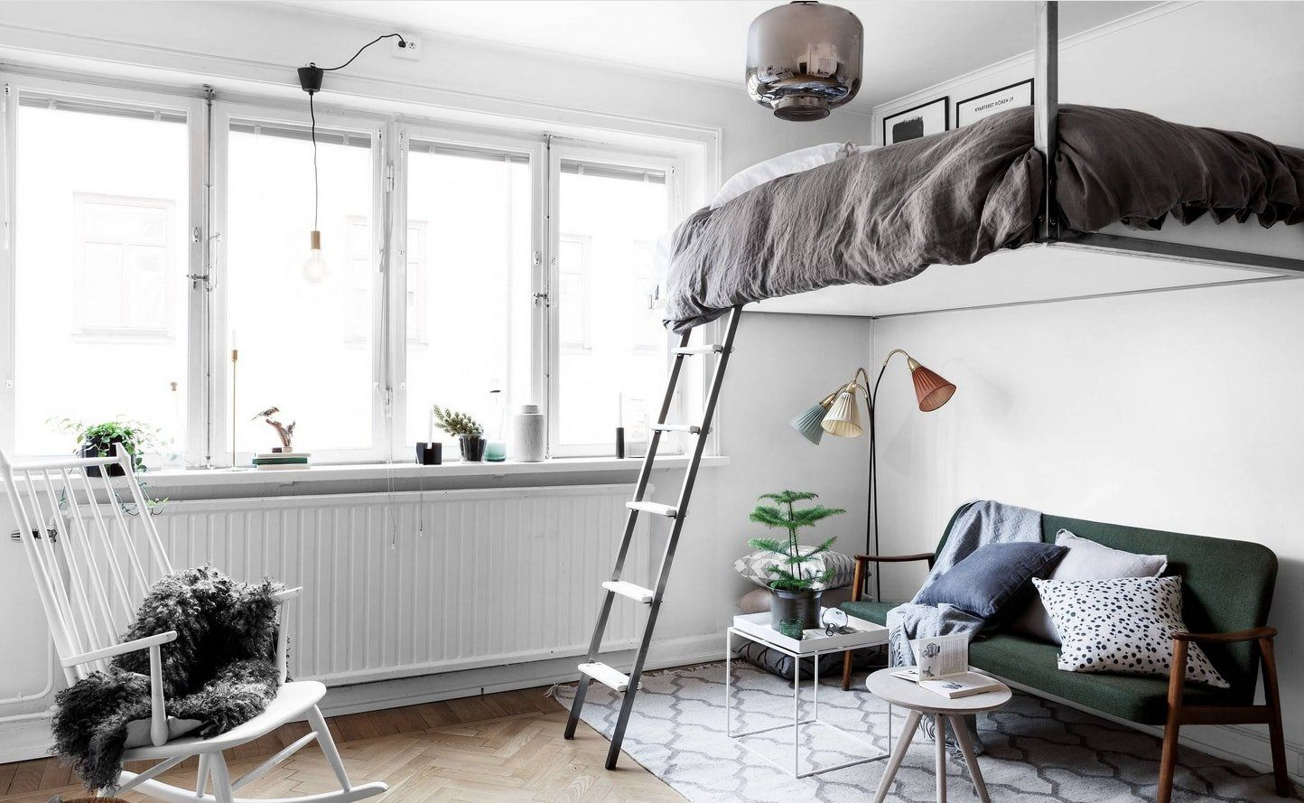 Studio Apartment Bedroom: Design Ideas and Pro Designers' Advice. Top bed with the ladder in Scando style