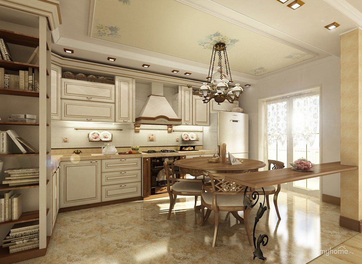 Provence Style Kitchen Interior Design for Cozy Life with Taste of Classics. White carved facades with wooden fittings