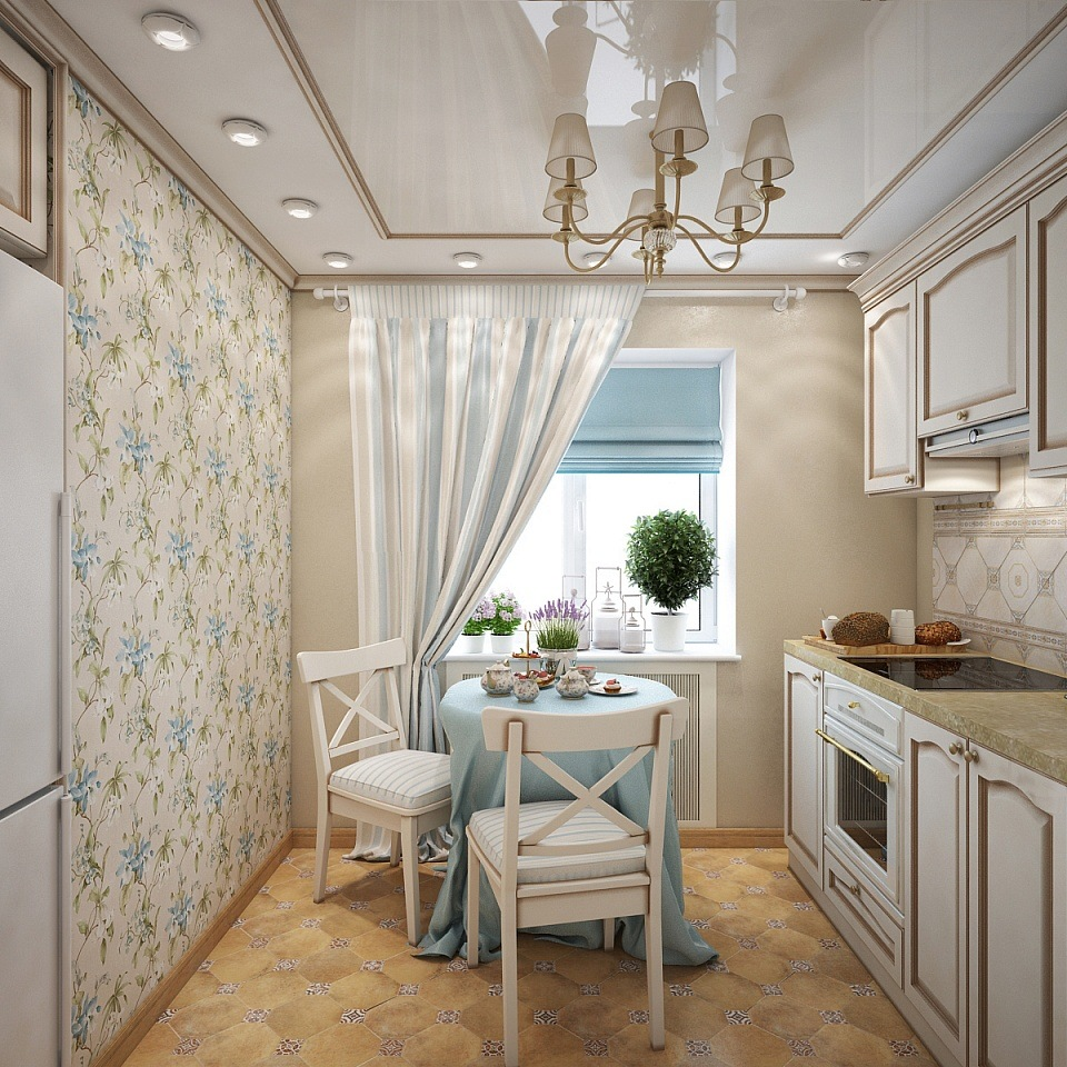 Provence Style Kitchen Interior Design for Cozy Life with Taste of Classics. Tiny kitchen with blue ornament wallpaper