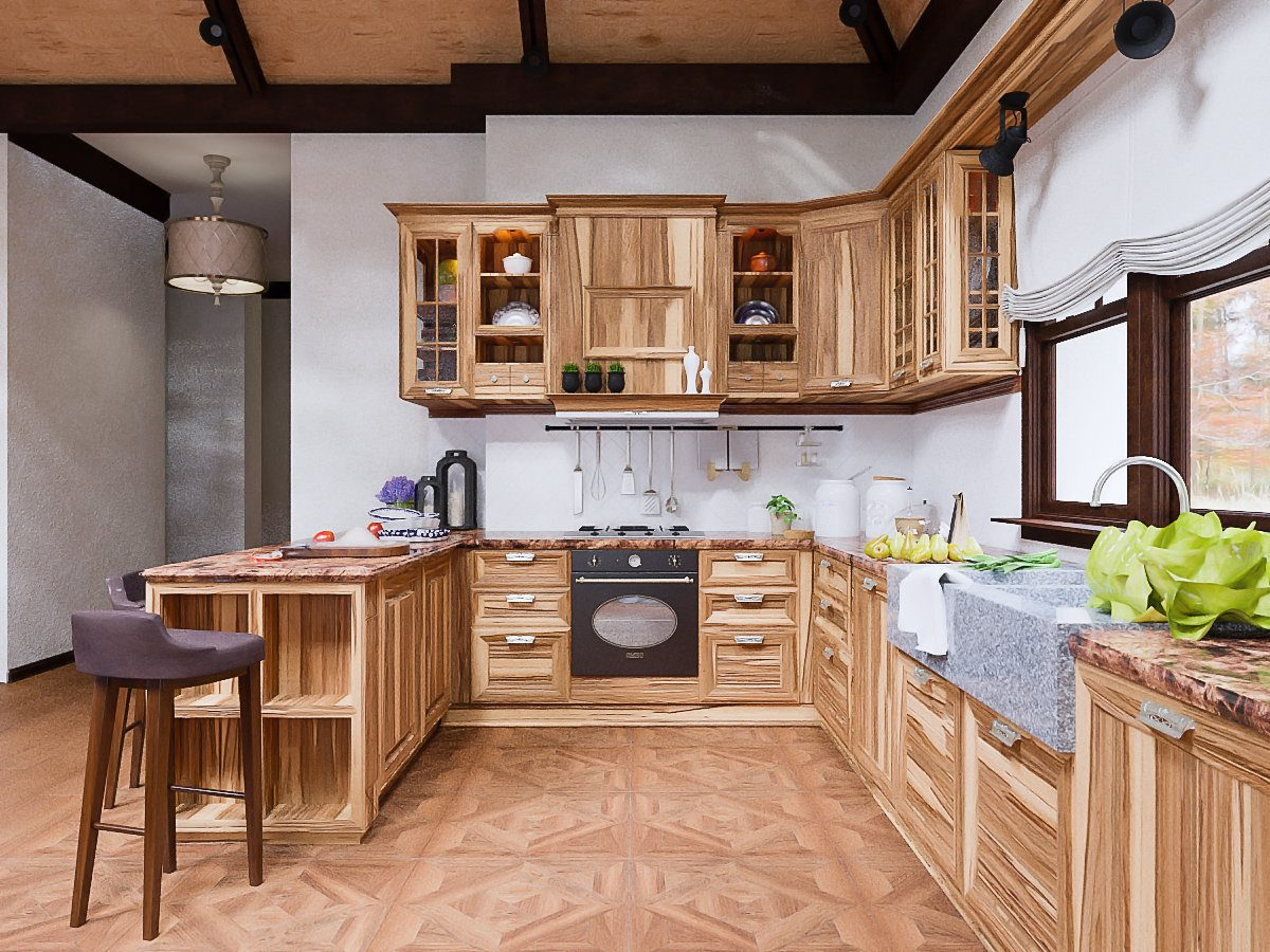 Chalet Kitchen Interior: Description, Design Tips with Photos. Fully wooden interior design