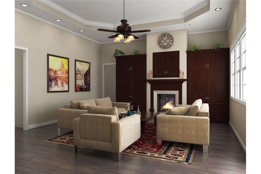 Simple colonial style living room in Acadian house
