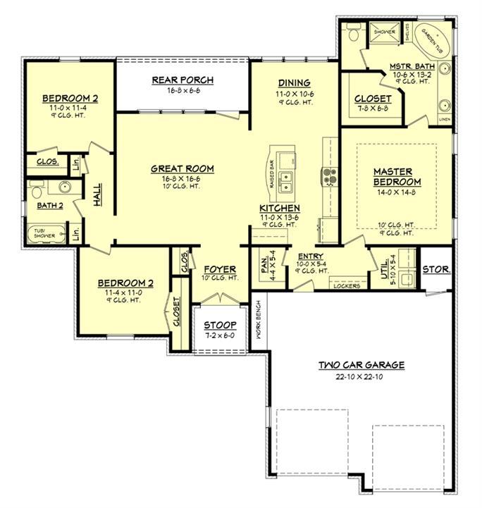 3 bedroom 1600 Sq Ft Ranch House floor plan