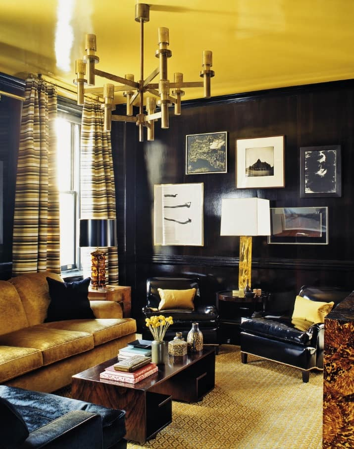 Breaking Stereotypes with Black Accent Wall Living Room Decoration. Yellow and black interior color combination in vintage interior