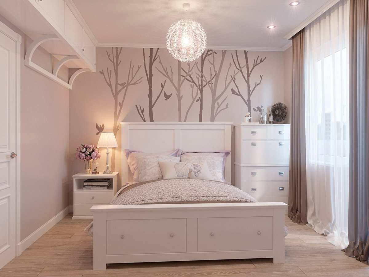 Cozy Feminine Bedroom Ideas for Relaxation and Boosting Your Energy. Modern styled room with photo wallpaper and queen furniture set