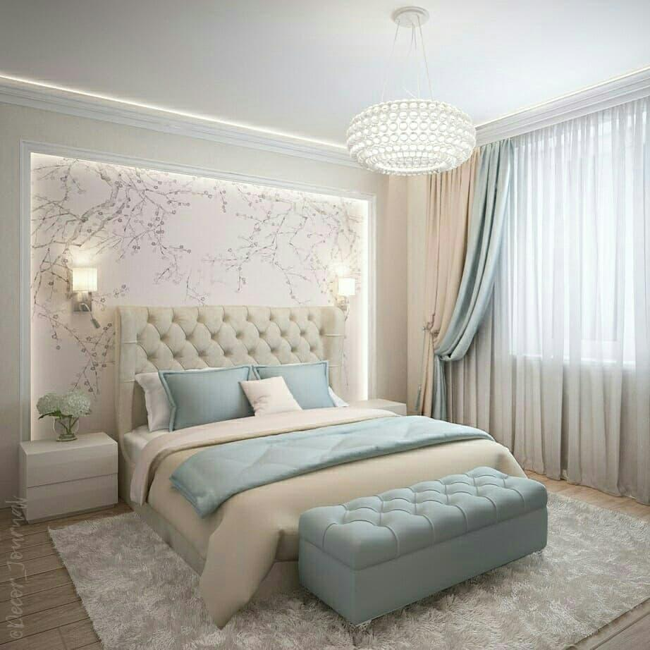 Crystal spherical ceiling light in a muted colors master suite