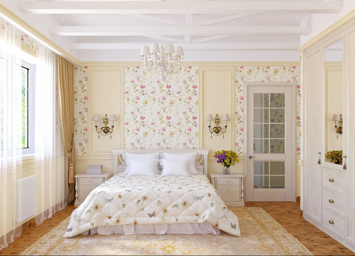 Cozy Feminine Bedroom Ideas for Relaxation and Boosting Your Energy. Floral bedding and walls
